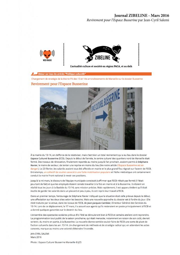 Journal ZIBELINE - Mars 2016 Revirement pour l'Espace Busserine