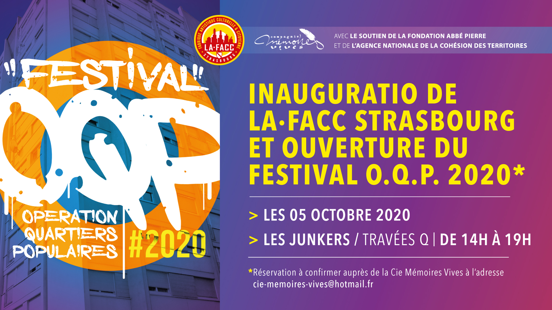Festival O.Q.P 2020 •Inauguration officielle de la FACC & Ouverture du Festival @ FACC Strasbourg